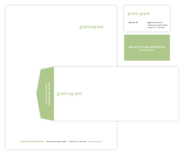 Client: Grant+Grant Architecture and InteriorsMedia: Letterhead, Business Cards, Memo Pads, Address Labels.