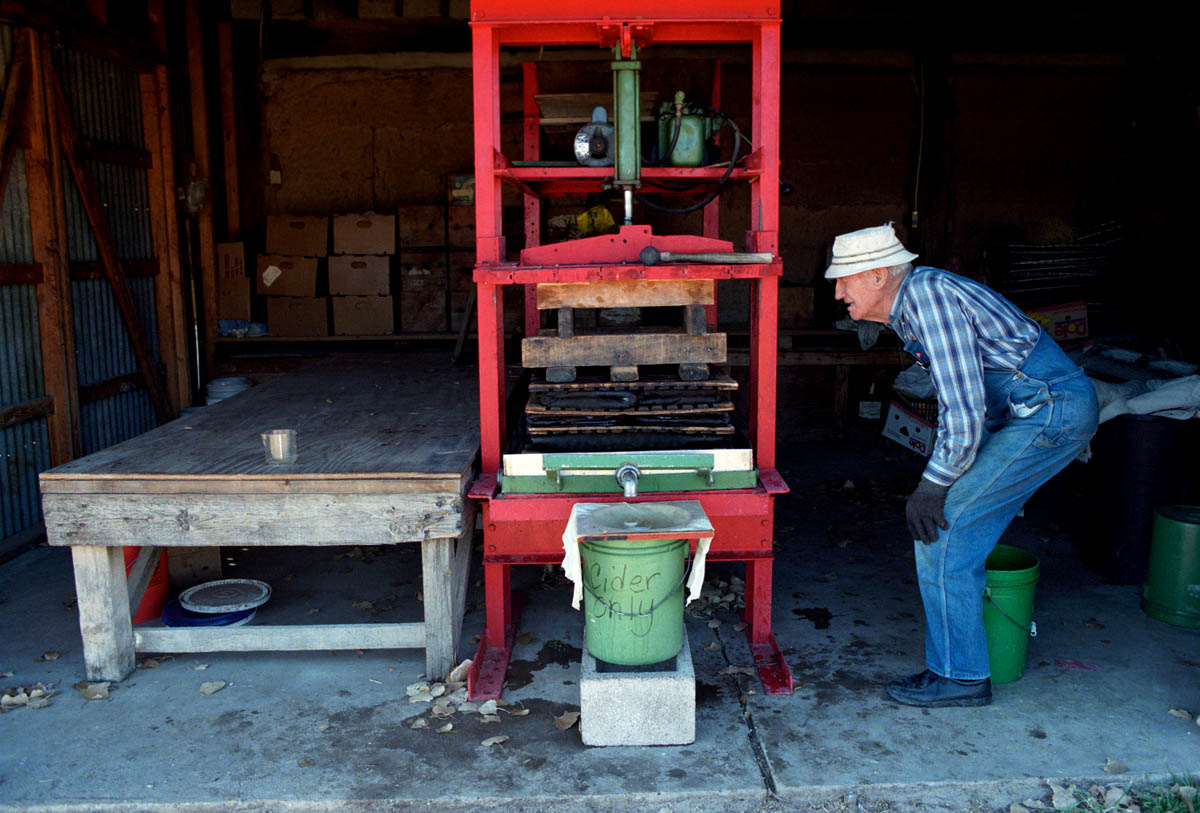 Johnnie, making cider, 1998