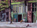 7 Bleecker St with Robert Frank, New York NYJune 2014oil on board 12{quote} x 16{quote}   SOLD