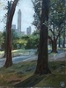 oil on board 16{quote} x 12{quote}   $ 900.00Looking out towards the Sheep Meadow from Tavern on the Green in Central Park.