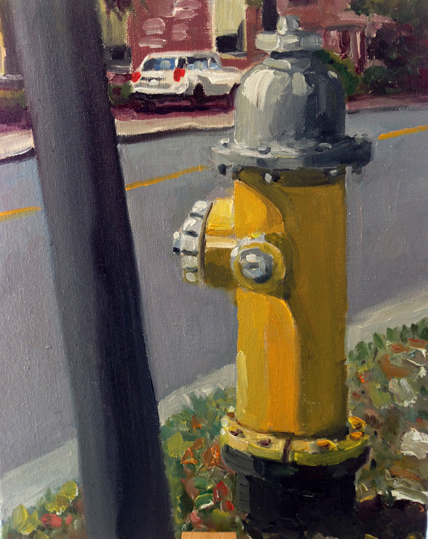 Hydrant , Greenwich CTOil on panel 8{quote} x 10{quote}   $ 400.00