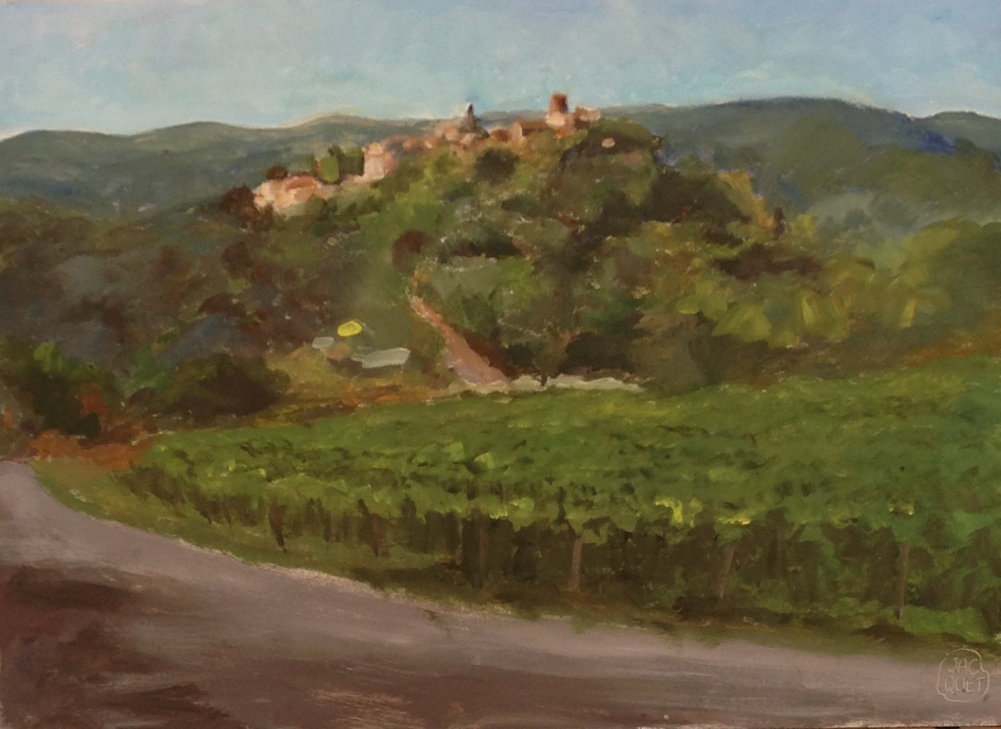 This village on the foothills of the Luberon, was made famous by Peter Mayle's book {quote} A Year in Provence{quote}.oil on board 12{quote} by 16{quote}   $ 1,200.00