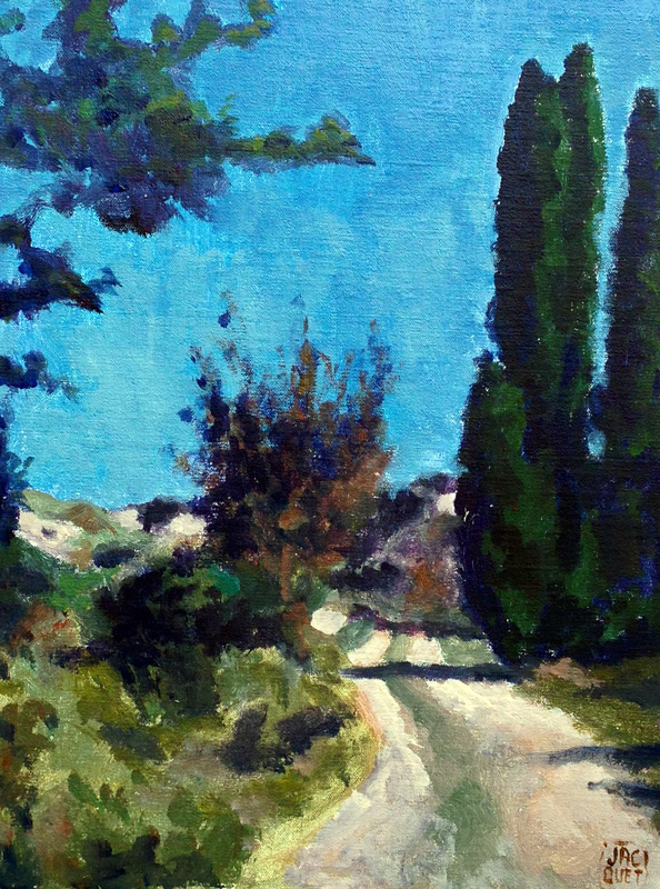 Domaine de Rebuty, Gignac-la-NertheAcrylic on board 14{quote} x 18{quote}, September 2013   $ 1,000.00