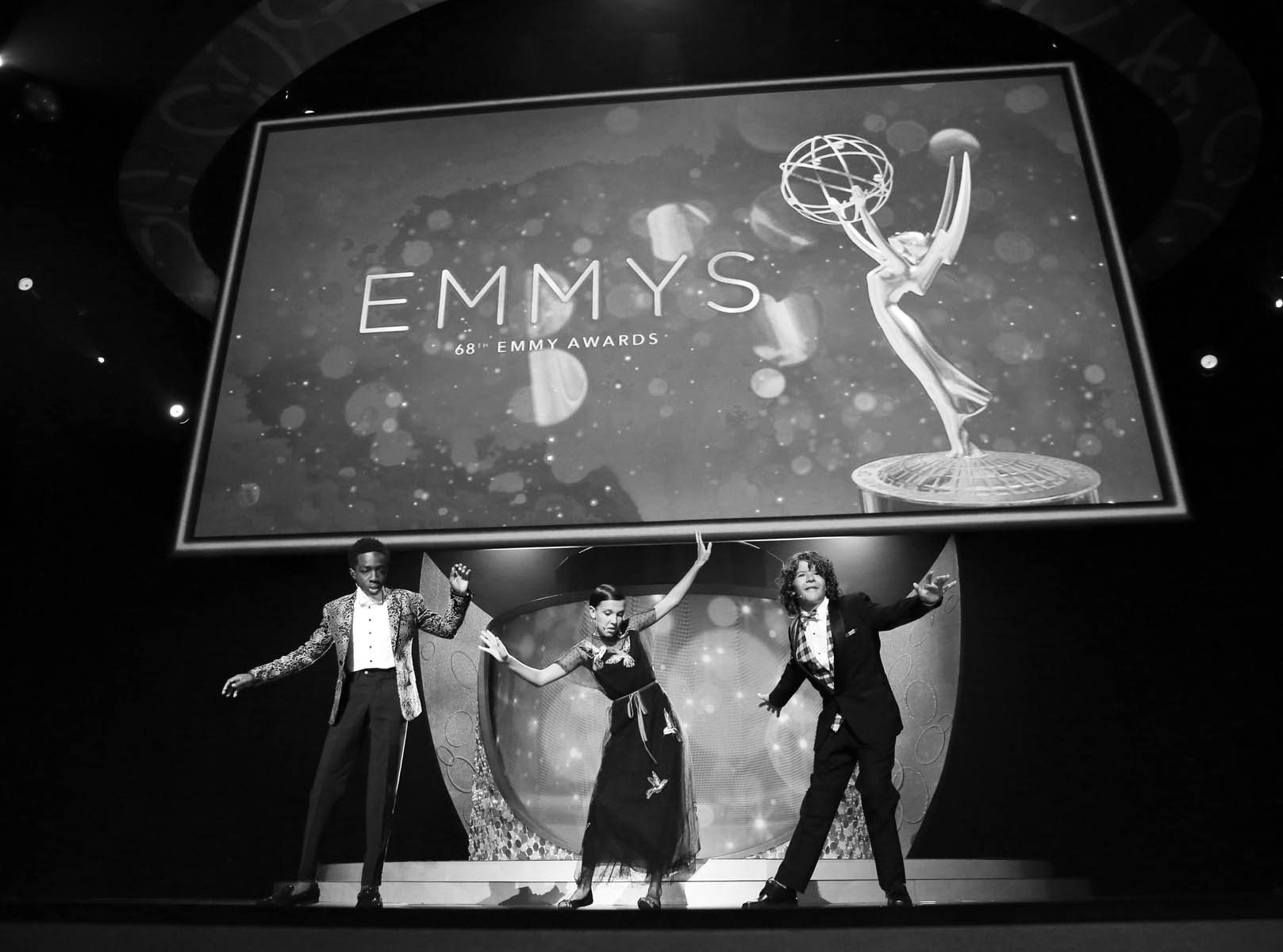 Caleb McLaughlin, from left, Millie Bobby Brown and Gaten Matarazzo at the 68th Primetime Emmy Awards on Sunday, Sept. 18, 2016, at the Microsoft Theater in Los Angeles. (Photo by Matt Sayles/Invision for the Television Academy/AP Images)