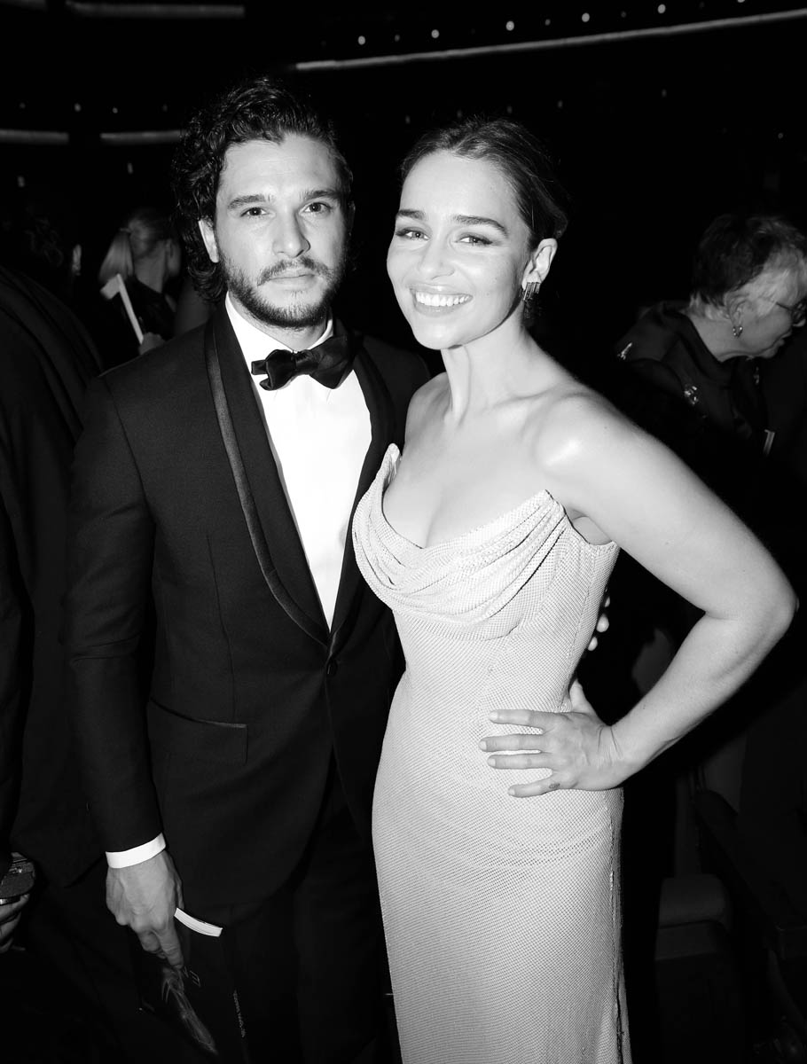EXCLUSIVE - Kit Harington, left, and Emilia Clarke appear in the audience at the 68th Primetime Emmy Awards on Sunday, Sept. 18, 2016, at the Microsoft Theater in Los Angeles. (Photo by Matt Sayles/Invision for the Television Academy/AP Images)