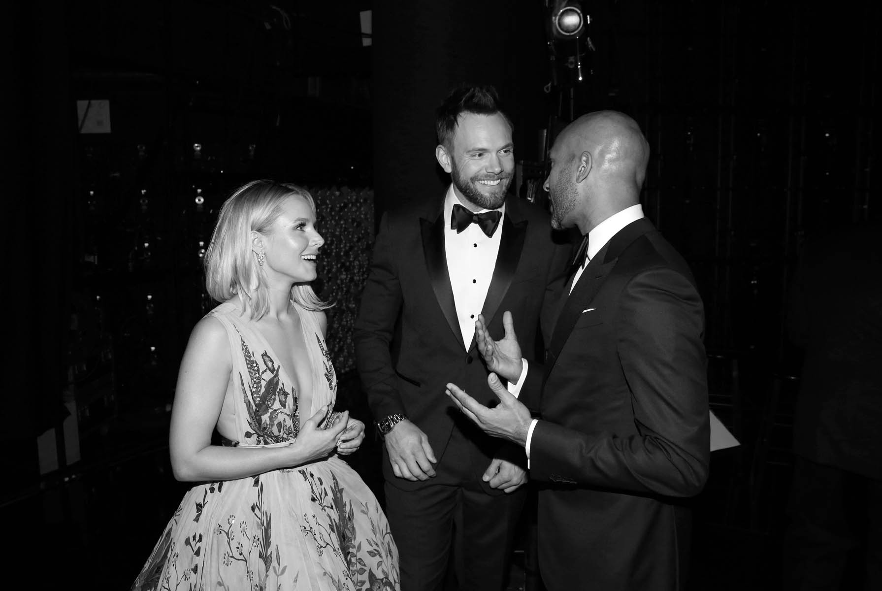 Kristen Bell, from left, Joel McHale and Keegan-Michael Key  backstage at the 68th Primetime Emmy Awards on Sunday, Sept. 18, 2016, at the Microsoft Theater in Los Angeles. (Photo by Matt Sayles/Invision for the Television Academy/AP Images)