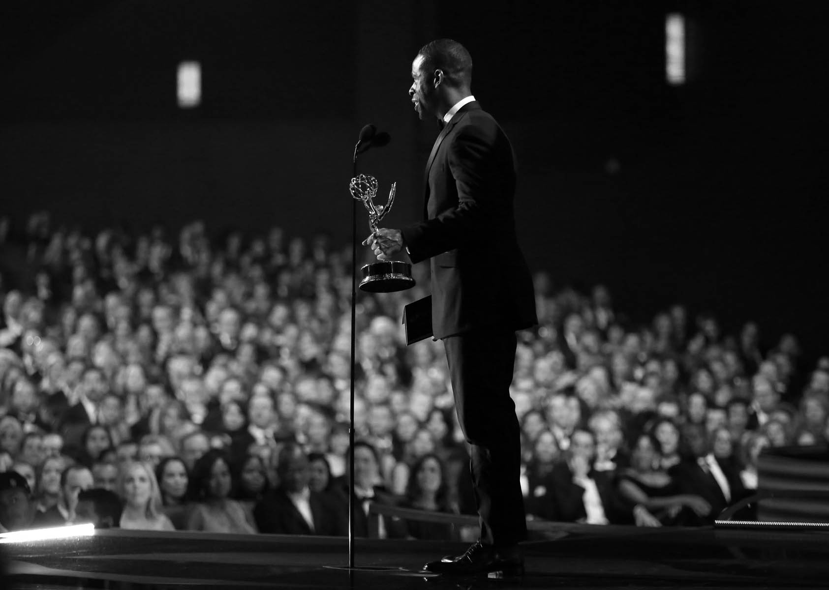 "Sterling K. Brown accepts the award for outstanding supporting actor in a limited series or a movie for ""The People v. O.J. Simpson: American Crime Story"" at the 68th Primetime Emmy Awards on Sunday, Sept. 18, 2016, at the Microsoft Theater in Los Angeles. (Photo by Matt Sayles/Invision for the Television Academy/AP Images)"