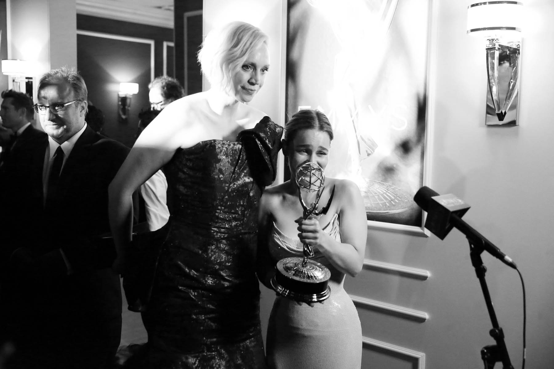 Gwendoline Christie, left, and Emilia Clarke pose with an emmy at the 68th Primetime Emmy Awards on Sunday, Sept. 18, 2016, at the Microsoft Theater in Los Angeles. (Photo by Matt Sayles/Invision for the Television Academy/AP Images)