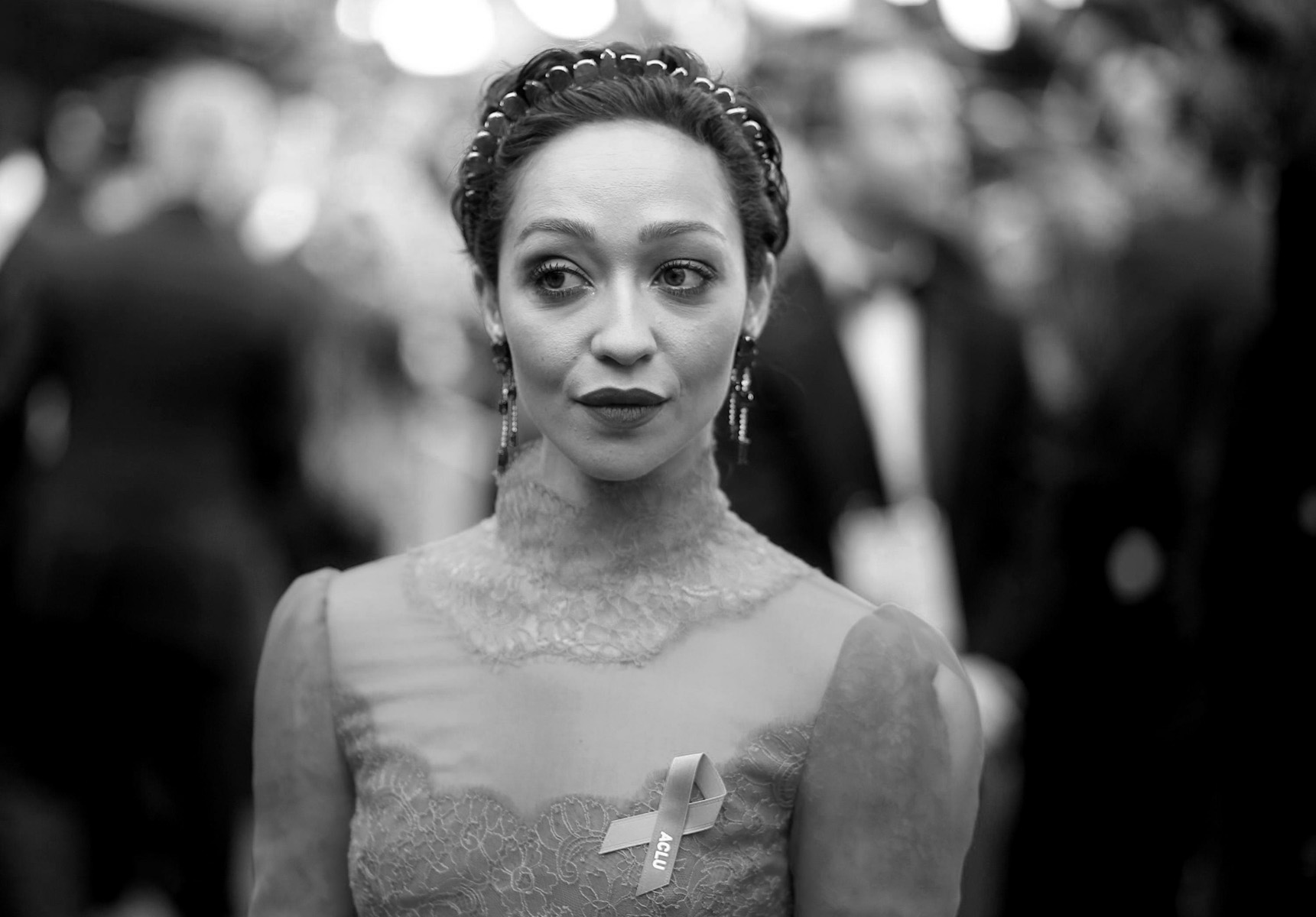 Ruth Negga arrives at the Oscars on Sunday, Feb. 26, 2017, at the Dolby Theatre in Los Angeles. (Photo by Matt Sayles/Invision/AP)