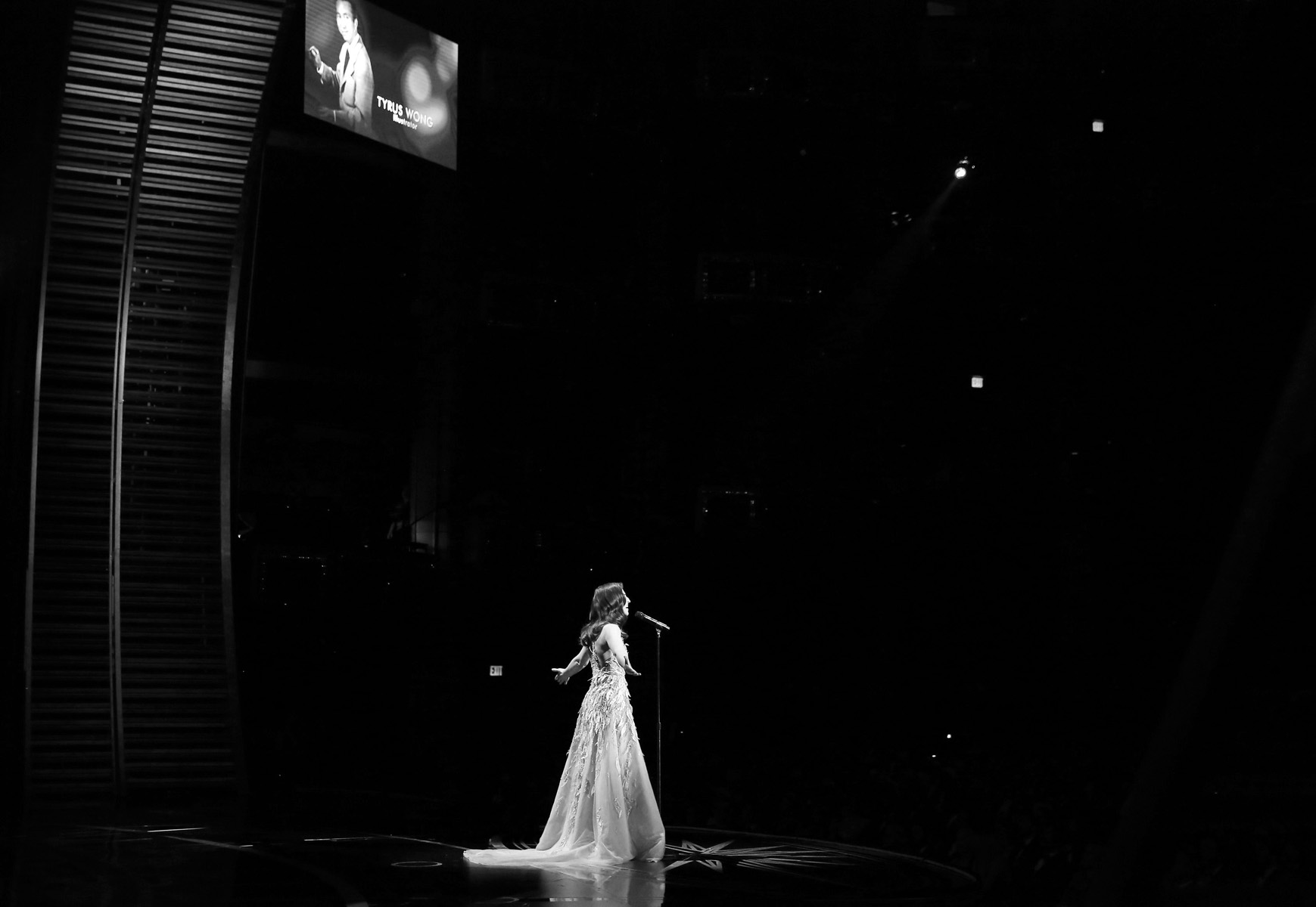Sara Bareilles performs during the {quote}In Memoriam{quote} tribute at the Oscars on Sunday, Feb. 26, 2017, at the Dolby Theatre in Los Angeles. (Photo by Matt Sayles/Invision/AP)