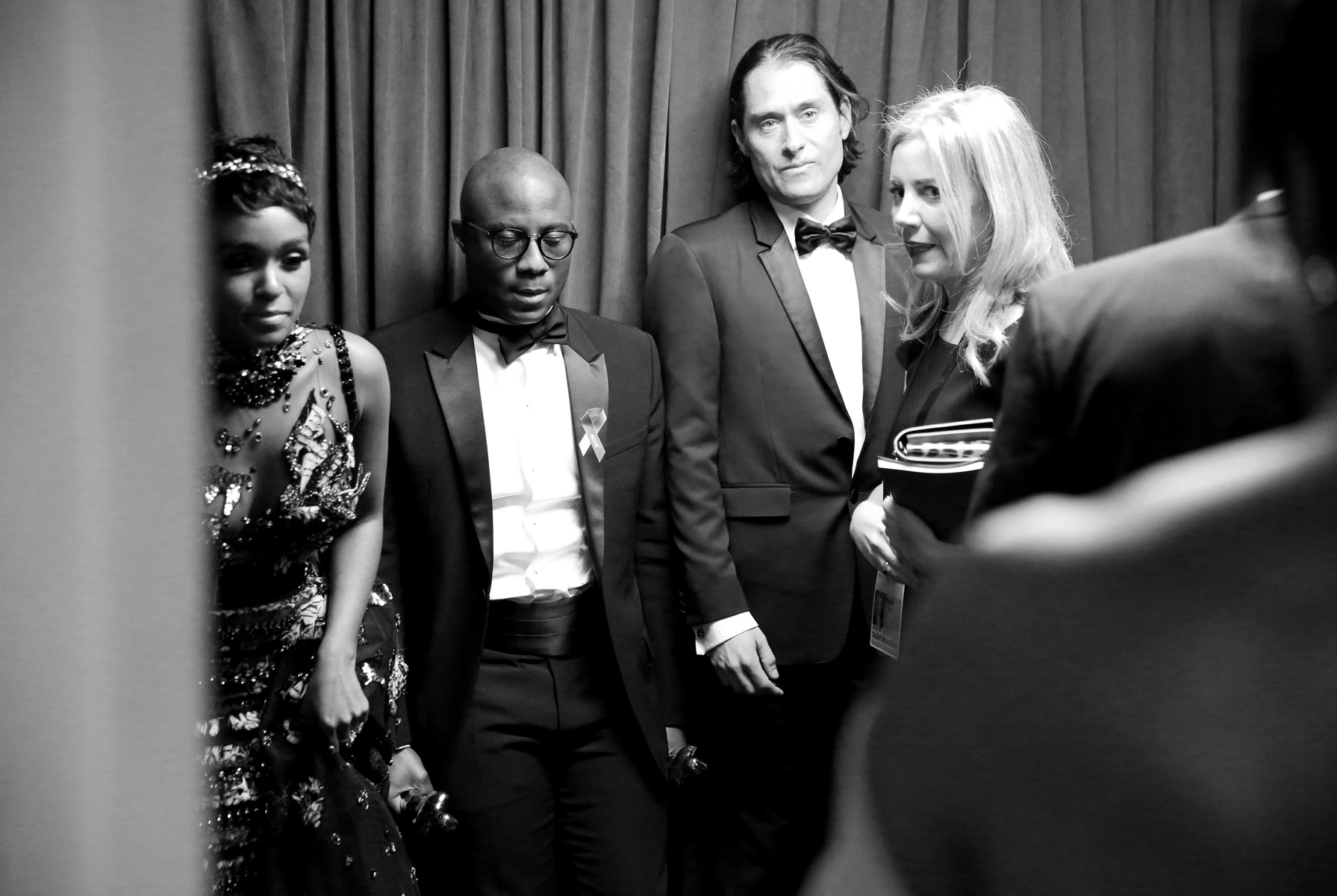 Barry Jenkins, center, Jeremy Kleiner, right,  winner of the award for best picture for {quote}Moonlight{quote},  and Janelle Monae appear backstage at the Oscars on Sunday, Feb. 26, 2017, at the Dolby Theatre in Los Angeles.(Photo by Matt Sayles/Invision/AP)