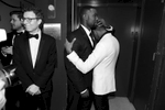 Trevante Rhodes, left, and Jharrel Jerome embrace backstage at the Oscars on Sunday, Feb. 26, 2017, at the Dolby Theatre in Los Angeles. (Photo by Matt Sayles/Invision/AP)