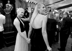 Michelle Williams, left, and Busy Philipps arrive at the Oscars on Sunday, Feb. 26, 2017, at the Dolby Theatre in Los Angeles. (Photo by Matt Sayles/Invision/AP)