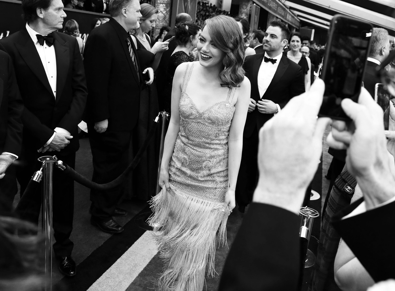 Emma Stone arrives at the Oscars on Sunday, Feb. 26, 2017, at the Dolby Theatre in Los Angeles. (Photo by Matt Sayles/Invision/AP)
