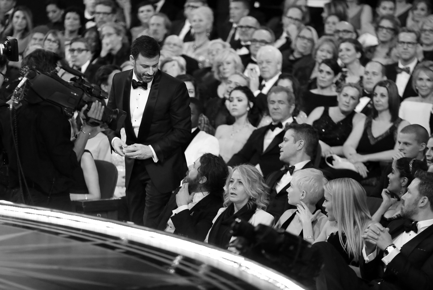 Jimmy Kimmel exits the audience as he heads for the the stage as the award for best picture is announced at the Oscars on Sunday, Feb. 26, 2017, at the Dolby Theatre in Los Angeles. (Photo by Matt Sayles/Invision/AP)
