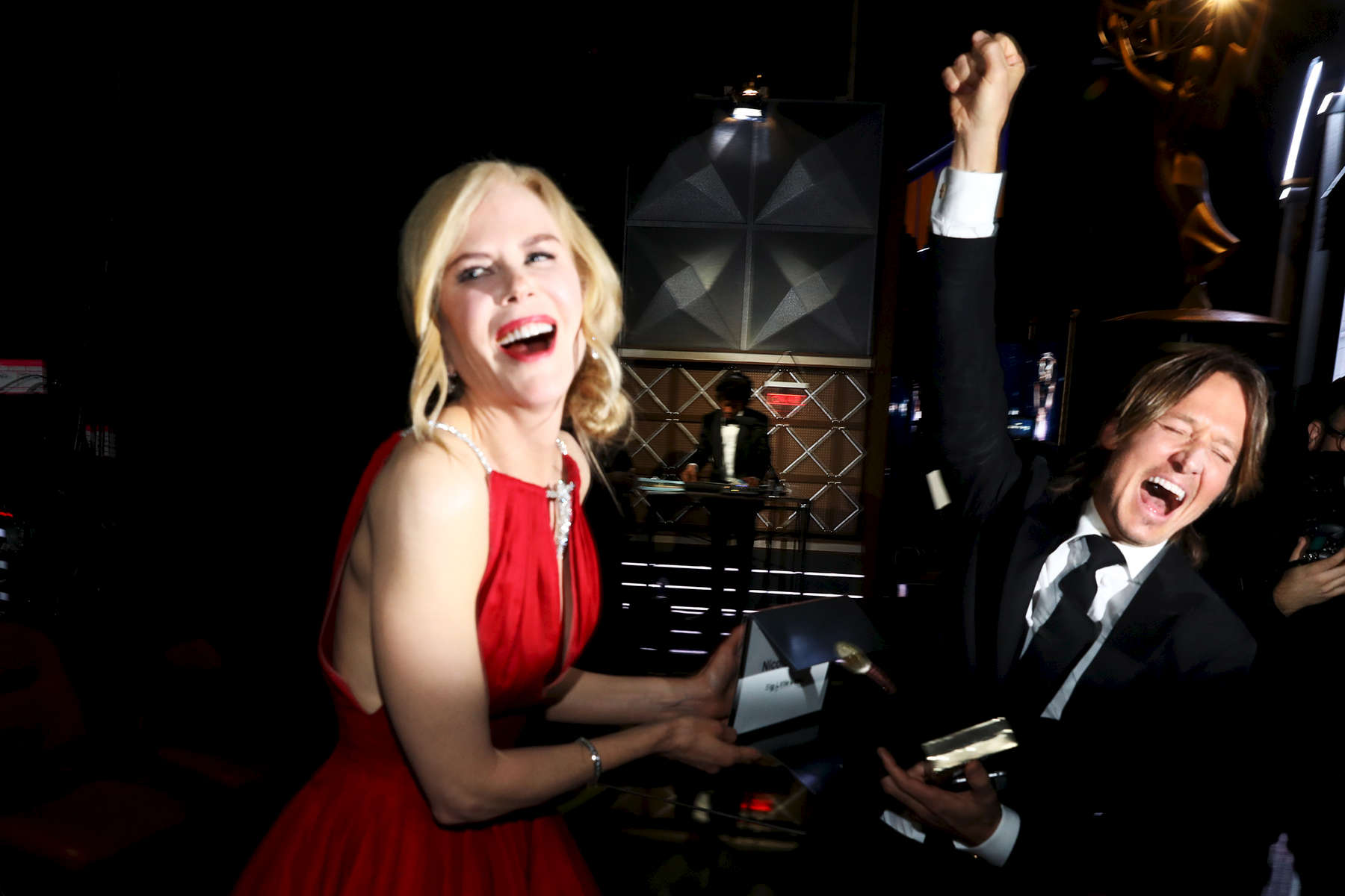 Nicole Kidman, left and Keith Urban appear backstage at the 69th Primetime Emmy Awards on Sunday, Sept. 17, 2017, at the Microsoft Theater in Los Angeles. (Photo by Matt Sayles/Invision for the Television Academy/AP Images)