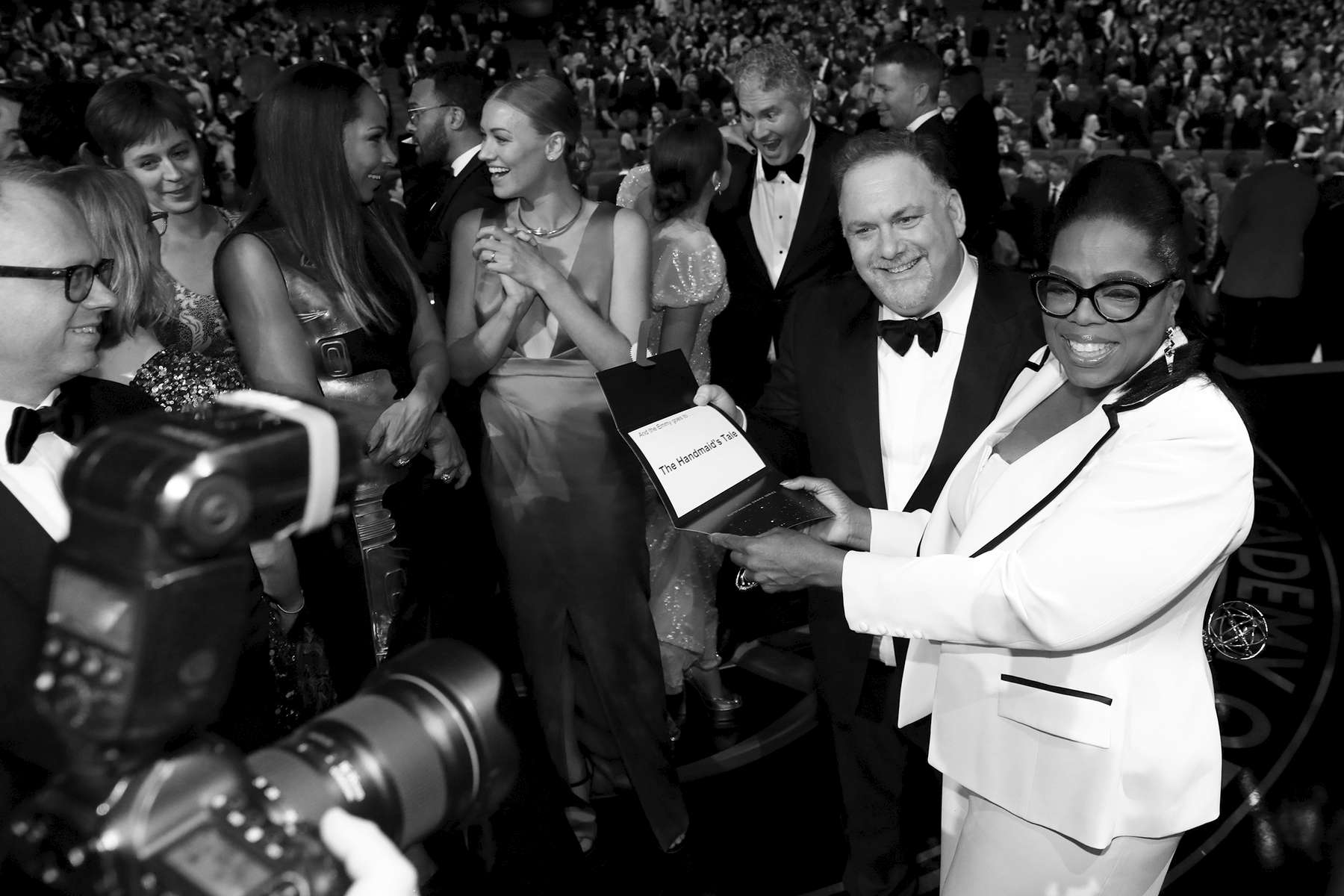 Bruce Miller, left and Oprah Winfrey at the 69th Primetime Emmy Awards on Sunday, Sept. 17, 2017, at the Microsoft Theater in Los Angeles. (Photo by Matt Sayles/Invision for the Television Academy/AP Images)