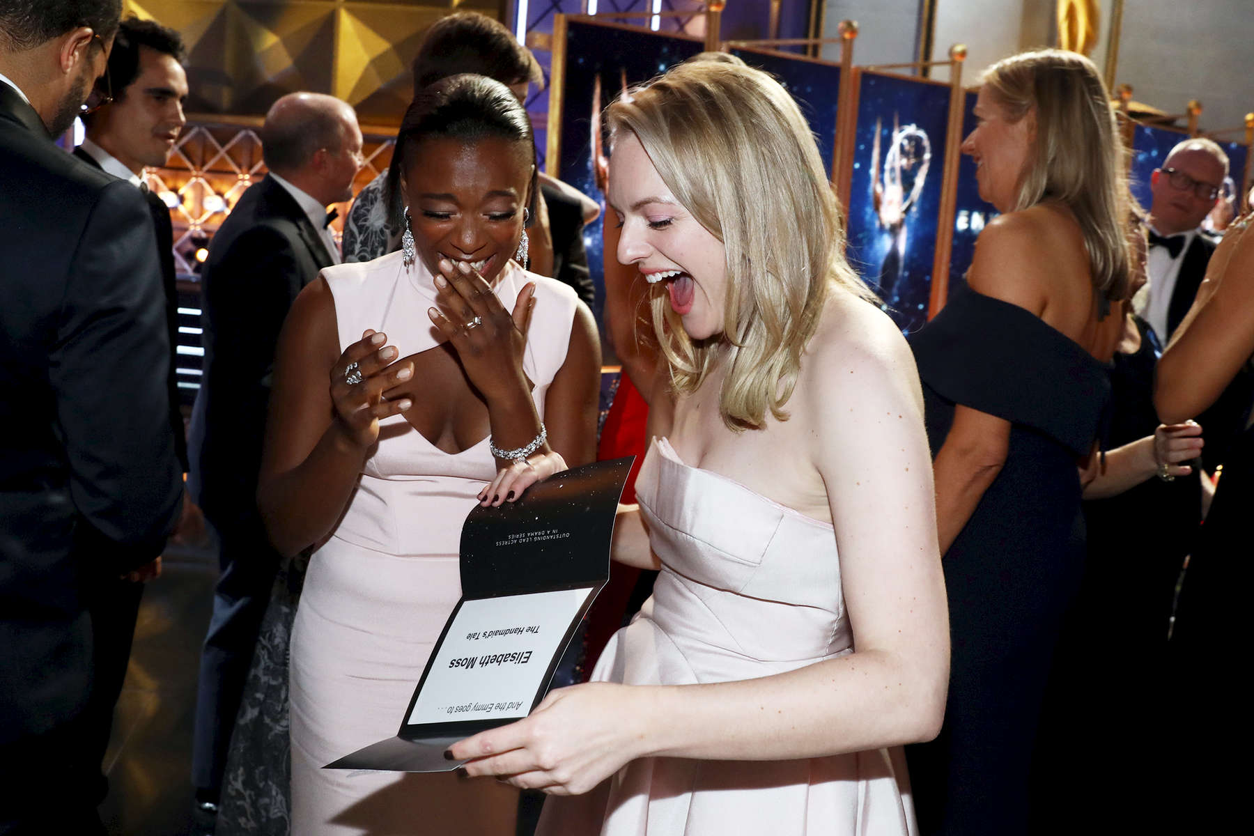 Samira Wiley, left and Elisabeth Moss appears backstage at the 69th Primetime Emmy Awards on Sunday, Sept. 17, 2017, at the Microsoft Theater in Los Angeles. (Photo by Matt Sayles/Invision for the Television Academy/AP Images)