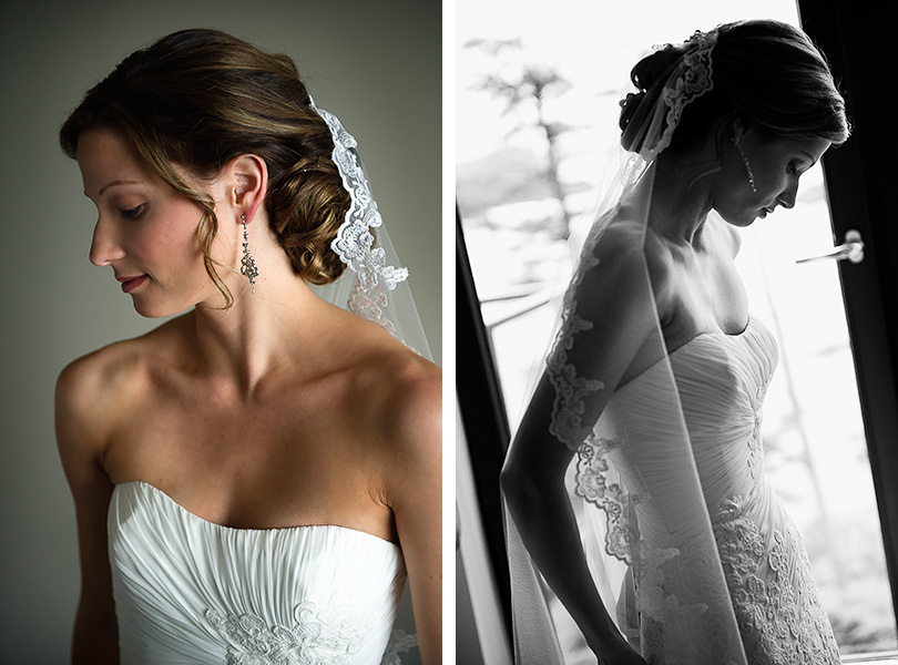 This wedding portrait is of a bride in her chambers.  The baklit photo was made with a telephoto lens.