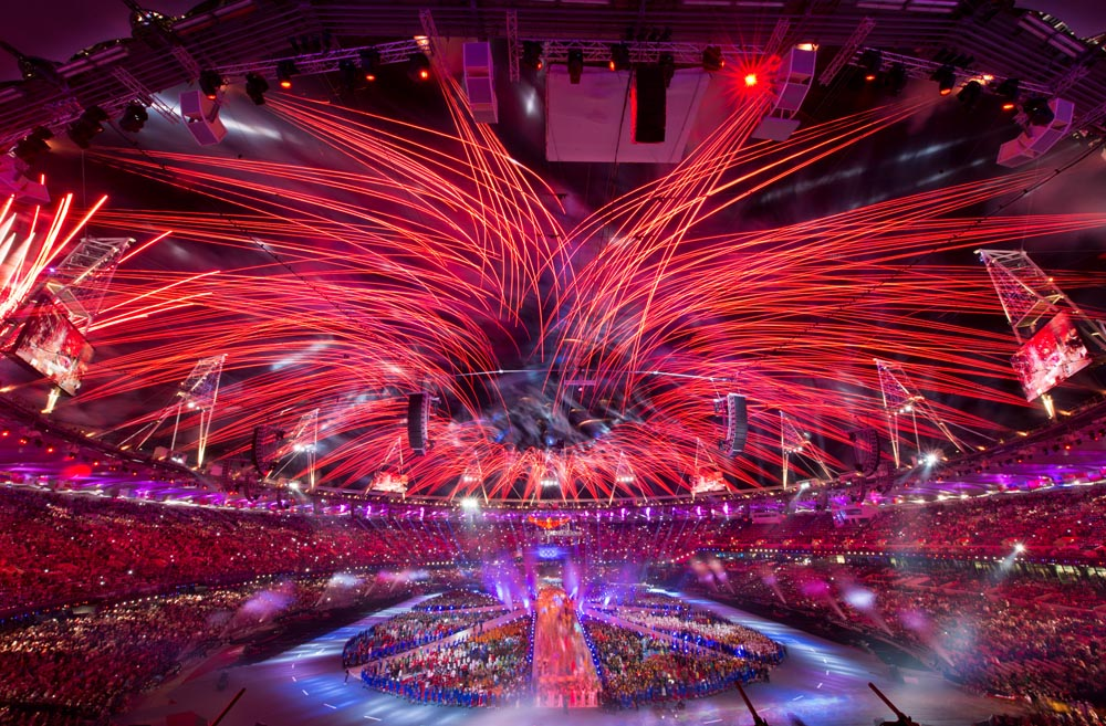 Fireworks exploded over Olympic Stadium during the Closing Ceremony of the 2012 Summer Olympic Games in London, England, Monday, August 13, 2012.