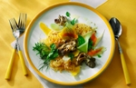 A colorful and bold landscape image evoking the gifts of the new spring season. A slightly overhead angle of view finds the composition on fine bright yellow and white linens. The spaghetti squash is baked and topped with mushrooms, mango slices, honeydo melon, cantalope, carrot shavings and frest herbs. Virgin olive oil is drizzled over all and the streaking light from back left adds intense dimension to the subject.