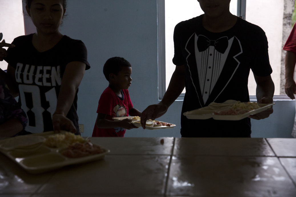 Jorro, 6, eats lunch at the Senda De Vida Casa Del Emigrante, a center that houses immigrant families seeking shelter before crossing the border, on Wednesday, June 20, 2018, in the border town of Reynosa, Mexico. Jorro's family has been staying at the center since March after a failed attempt to cross the border when they first arrived.  The family of six fled Honduras in hopes of being granted asylum in the United States, but has since decided to postpone another attempt to cross for fear parents and children being separated from one another.  Jorro's mother, {quote}Lorena,{quote} says, they can't go back because of the violence, they can't go forward because of U.S. Policies, and Mexico is not somewhere they can stay indefinitely.  AMANDA VOISARD/AMERICAN-STATESMAN