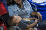 Jennifer holds her son, Jayden,10-months, at the Catholic Charities Humanitarian Respite Center on Thursday, June 21, 2018, in McAllen, TX.  Jennifer and her son recently arrived in the USA from Nicaragua and were not amongst the families charged and separated upon crossing the border. The center provides aid to families in crisis, offering clean clothes, a shower and meal before they embark to their final destinations.  AMANDA VOISARD/AMERICAN-STATESMAN