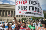 WASHINGTON, DC - AUGUST 2:  Edwin Argueta walks with demonstrators calling for presidential action to stop deportation, expand relief, and end criminalization during an immigration rally on Saturday, August 2, 2014 in Washington, DC.  (Photo by Amanda Voisard/For the Washington Post)