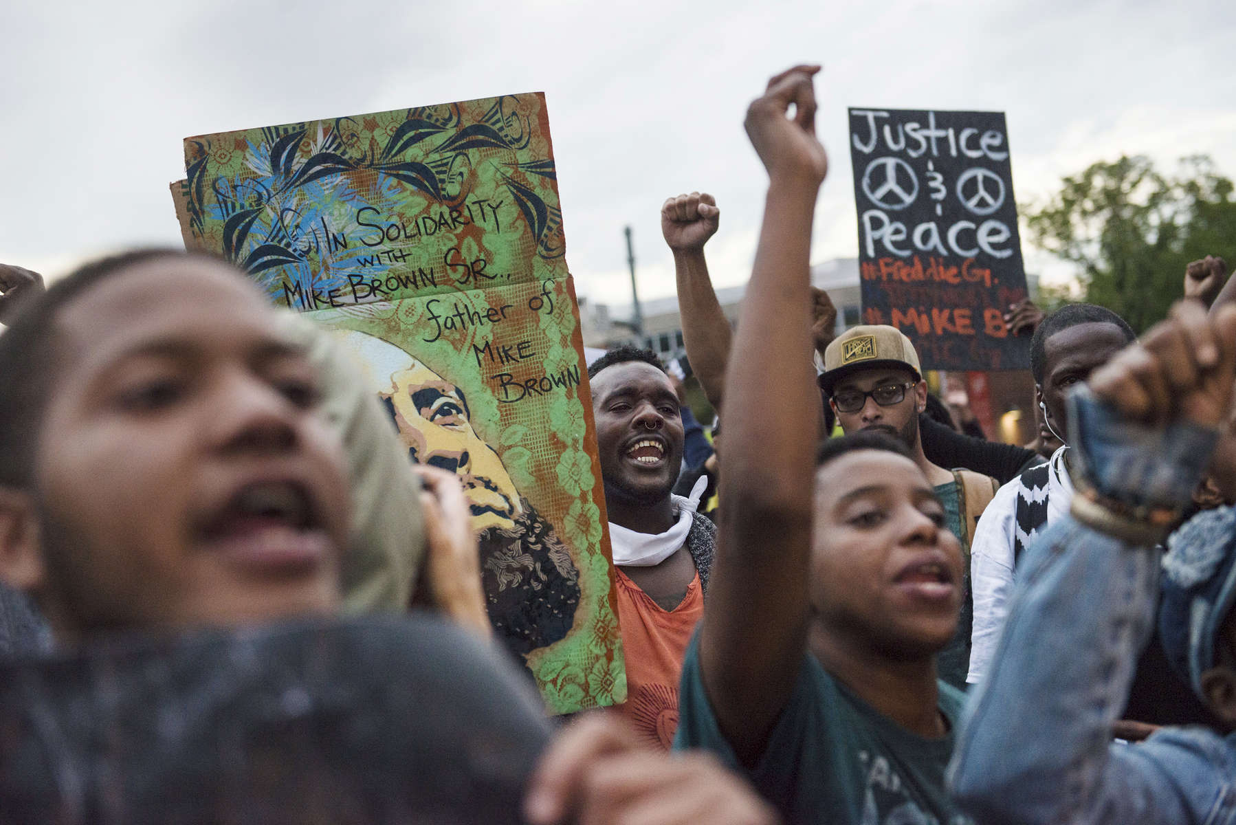 BALTIMORE, MD- APRIL 30:  Terry Kenard, 25, marches with protestors through the streets  of Baltimore in support of Freddie Gray on Thursday, April 30, 2015  in Baltimore, MD. (Photo by Amanda Voisard/For the Washington Post)