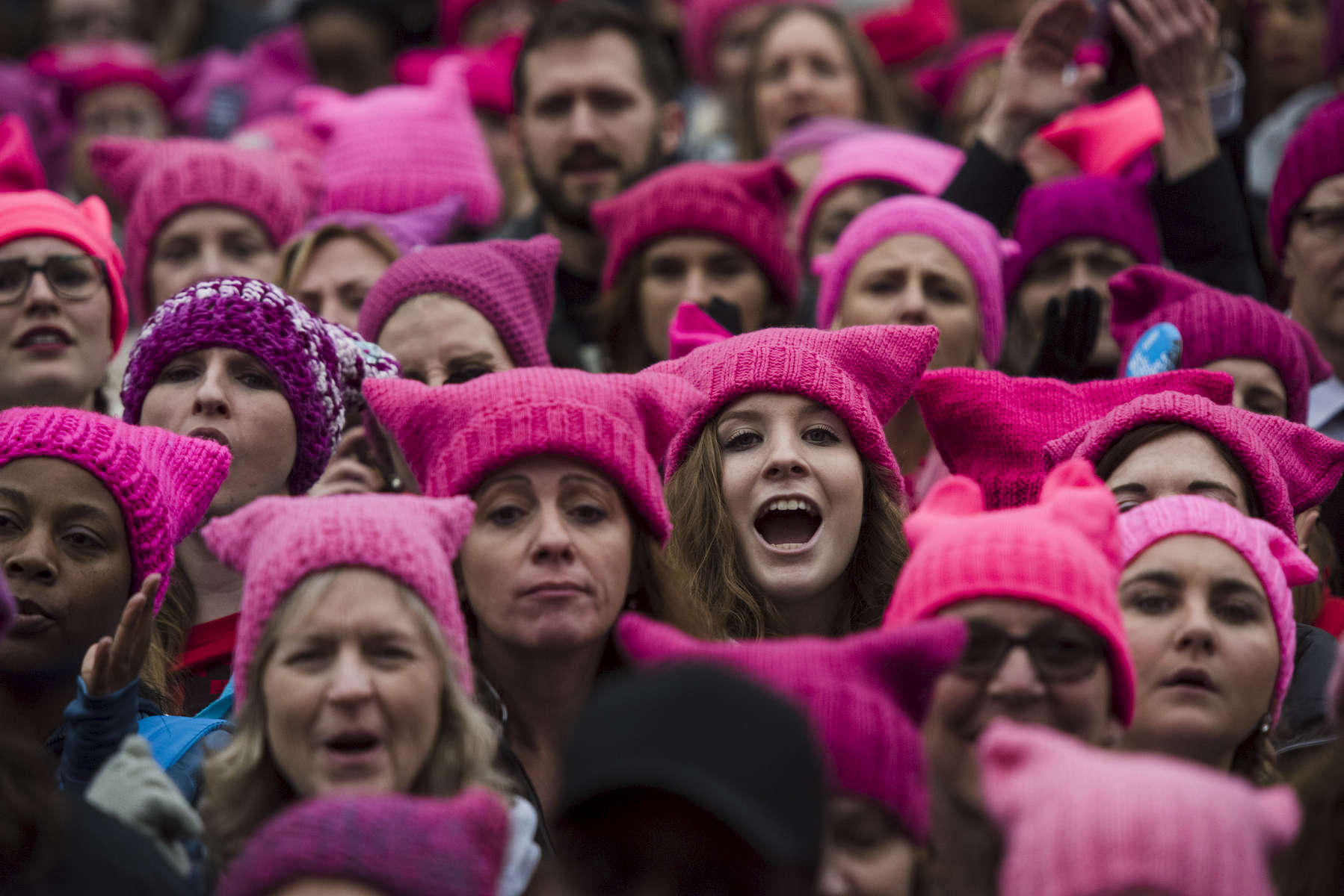 WASHINGTON, DC- JAN 21-  Groups gather for the Women's March on Washington on Saturday, Jan. 21, 2017 in Washington, D.C.  (Amanda Voisard/For The Washington Post)