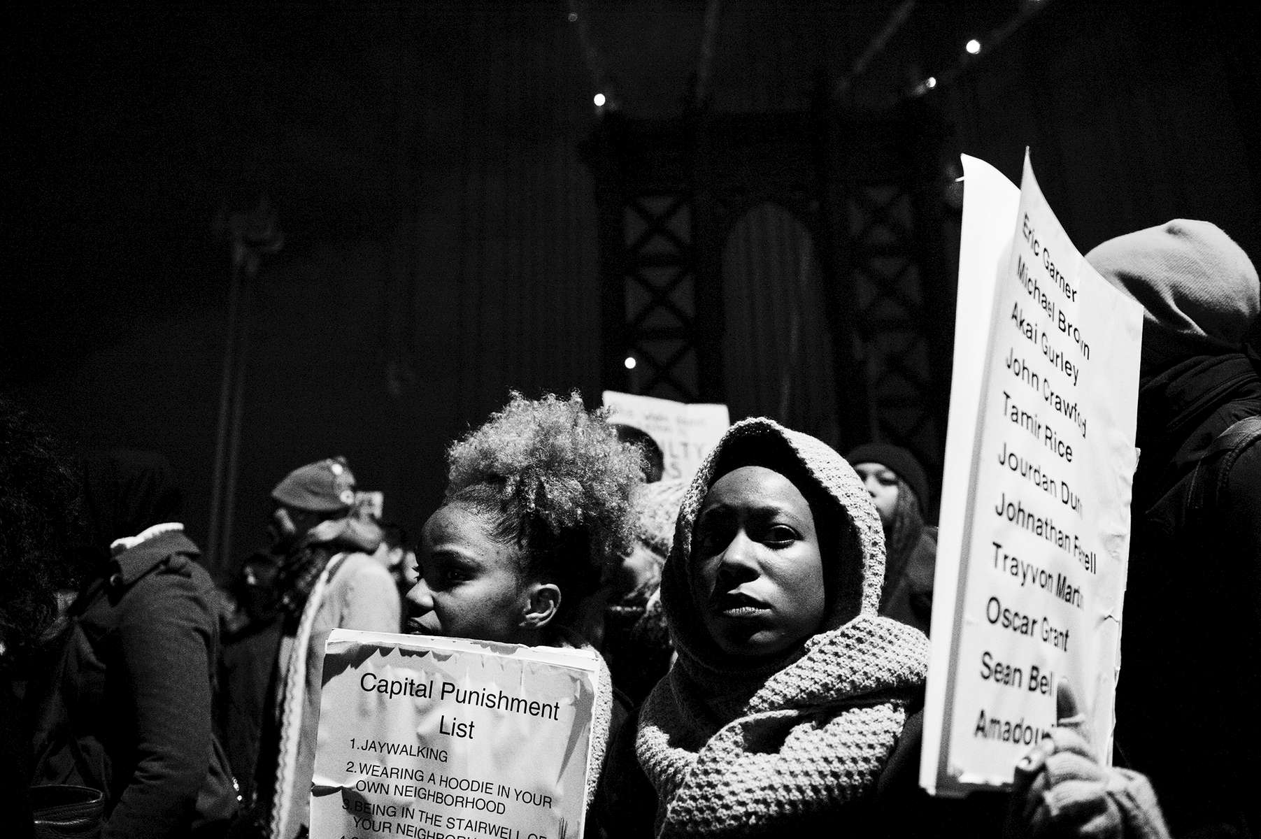 NEW YORK CITY, NY- DEC 4: Protests surge the day after a Staten Island grand jury declined to bring charges in the case of Eric Garner, who died this summer.  Protestors jam into New York's Foley Square in protest on Dec. 4, 2014 in New York City, NY. (Photo by Amanda Voisard/For the Washington Post)