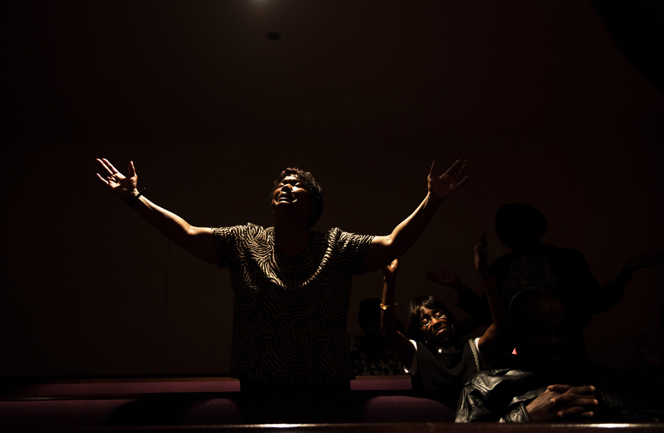 FORT WASHINGTON, MD - MAY 09:  Dora Todd gets in the spirit while listening to Smokie Norful perform during the McDonalds Gospel Tour on Thursday evening at Ebenezer AME Church in Fort Washington, MD. (Photo by Amanda Voisard/For the Washington Post)