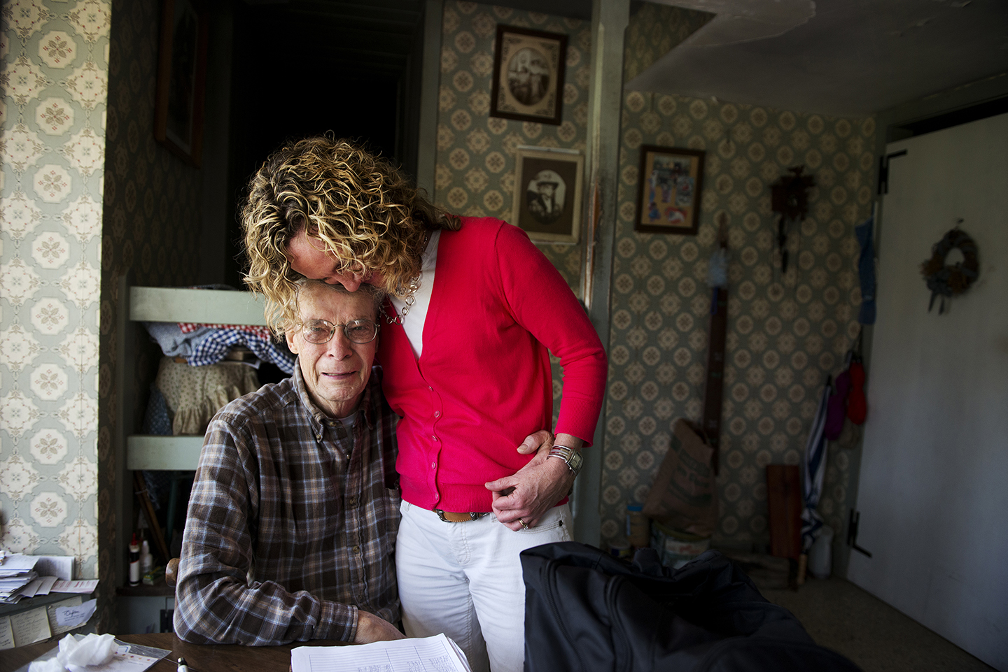 DOYLESTOWN, PA - APRIL 24:  Patty Graefe, Clinical Team Leader at Health Quality Partners research and development organization, hugs her patient,  Paul Bradfield, 83 at his home outside of Doylestown, PA on Wednesday.   With a few more visits left, the couple is sad to lose the care provided by Graefe,{quote}  {quote}If it hasn't been for her making him go to the doctor, he wouldn't be here. That I am sure of, {quote}  said Betty Bradfield of an medical emergency involving her husband.