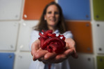 WASHINGTON DC - MAY 10:  Dr. Laura Olivieri holds up a 3d printed model of of a ventricular septal defect in a toddler that was printed by a Objet 3D printer at Children's National Medical Center in Washington, DC.   .   She is seen Friday morning.  (Photo by Amanda Voisard/For the Washington Post)