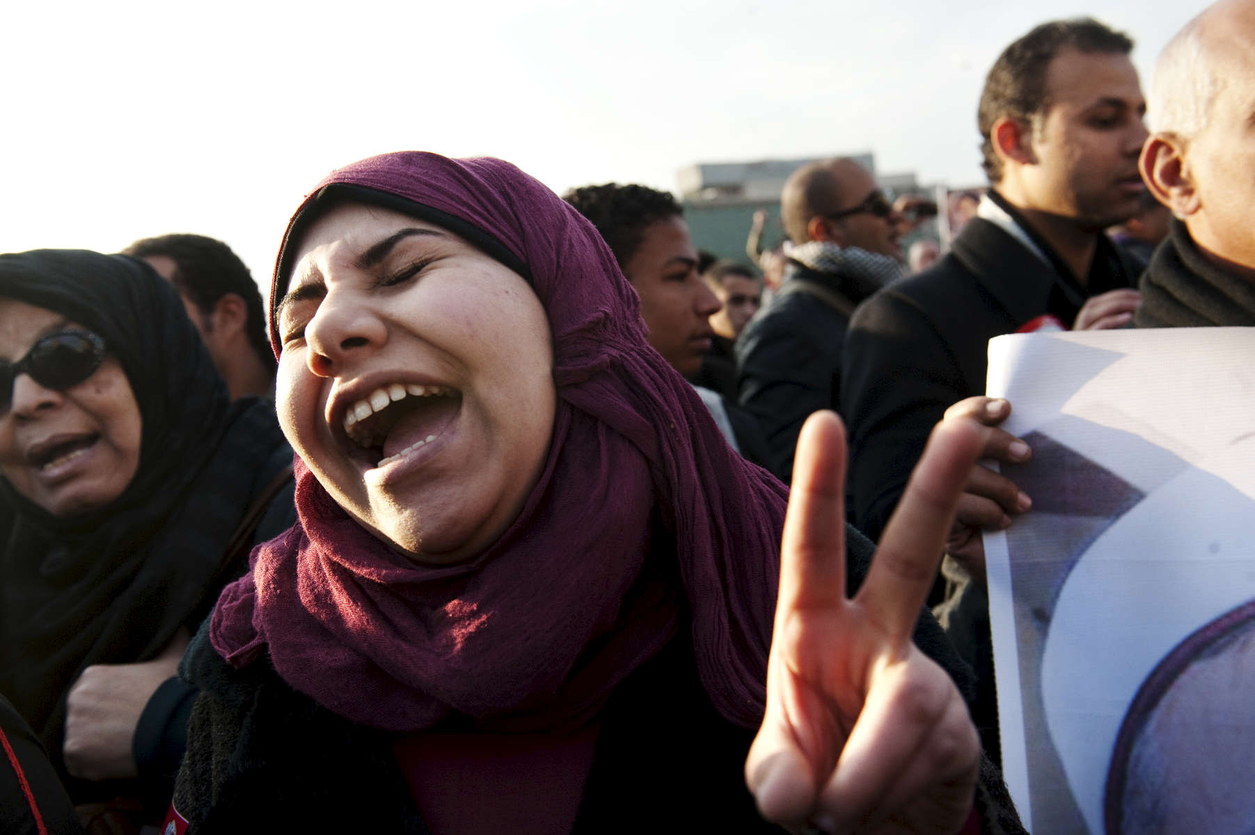 CAIRO, EGYPT - JANUARY 20:   Several neighborhood groups converged on Tahrir Square today with the hopes of energizing the people in preparation for the one year anniversary of the 18-day uprising that ousted former President Hosni Mubarak., on January 25, 2012. A demonstrator chants during the rally honoring those killed during the revolution.  (Amanda Voisard)