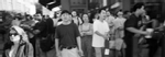 Crowds watch and wait for the North Tower to colapse. The 9/11 terrorists attacks in New York City part of a comlete edit of 100 photos. Tribeca, New York City, New York