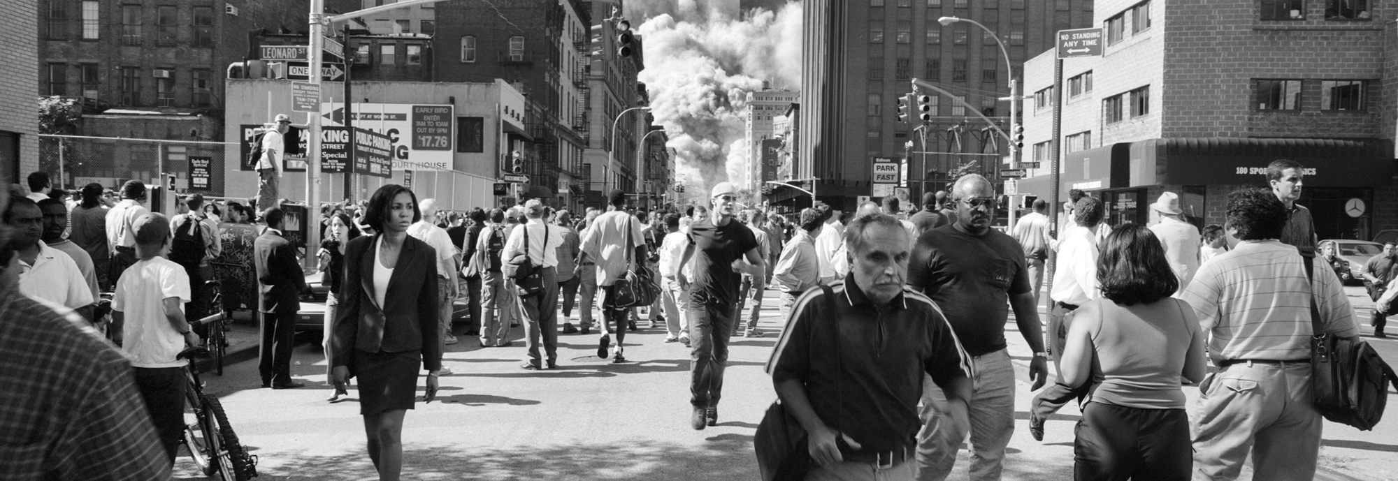 Soon after the North Tower colapses at 10:28am. The 9/11 terrorists attacks in New York City part of a comlete edit of 100 photos. Tribeca, New York City, New York
