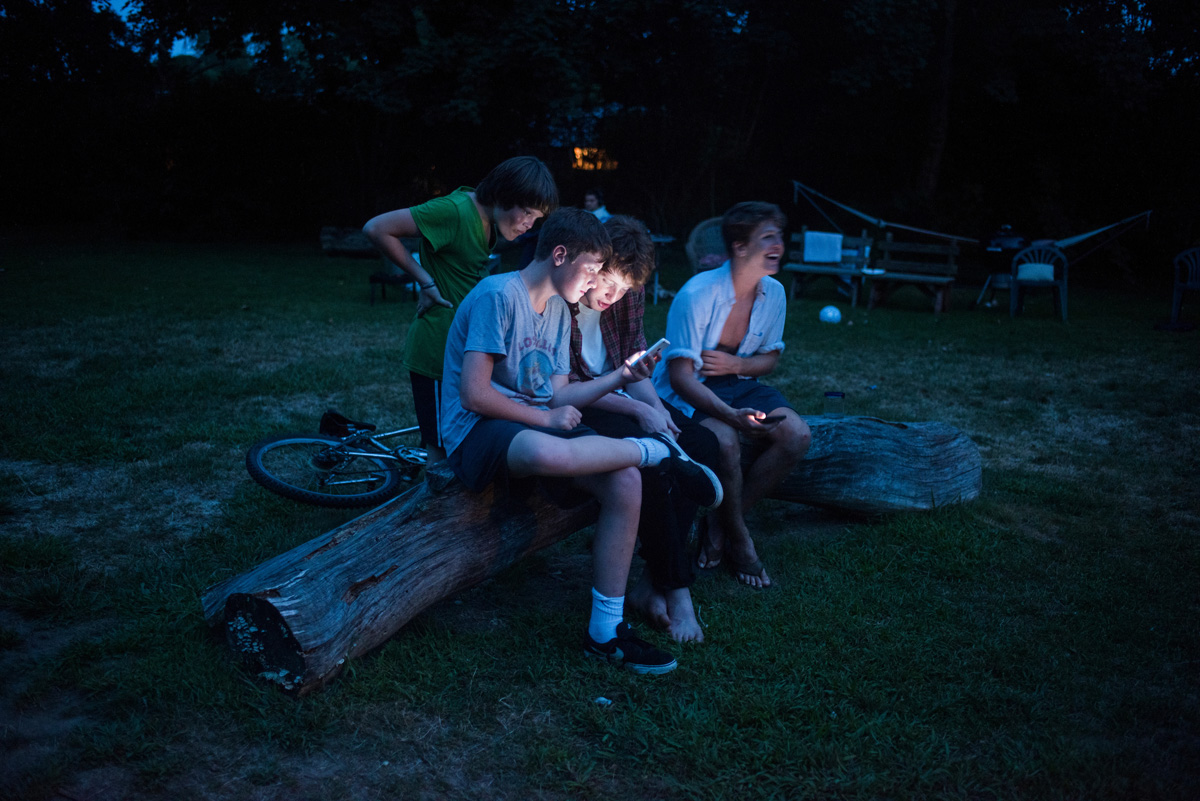 Screenagers Mitchell, Louis and Lucas.Barn, Bridgehampton, New York, USA