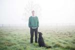 Mitchell and Eppie (dog). Lower Wolston, North Cadbury, Somerset, England
