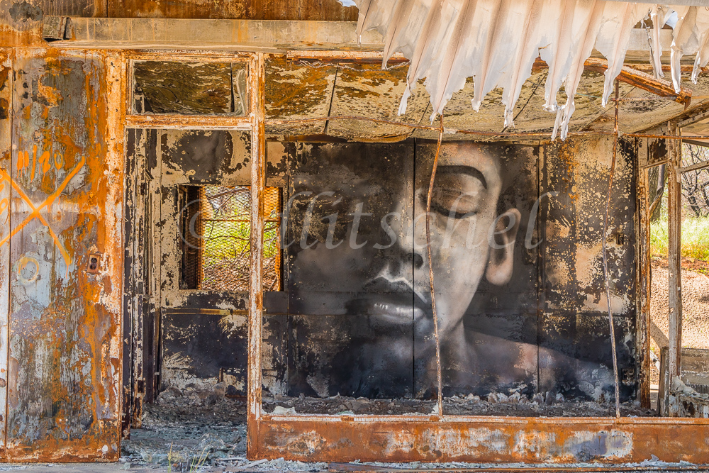 A building gutted by wildfire has a large face painted on an inside wall, looking out to the street, in the town of Paradise, California the site of the Camp Fire in 2018.