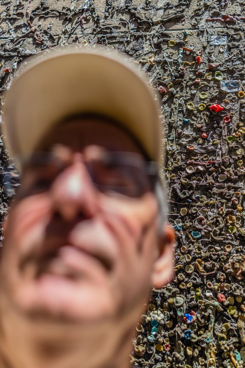 Selfie with bubble gum wall in San Luis Obispo, California.