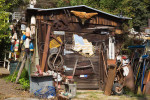 A shack in Summerland, California displays a collection of random items that combine to become a folk art display. To purchase this image, please go to my stock agency click here.