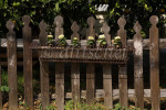 A Victorian picket fence in Summerland, California supports a planter box. To purchase this image, please go to my stock agency click here.