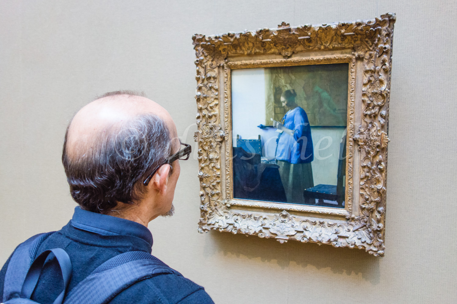 Man in blue looking at Vermeer painting of {quote}Woman in Blue Reading a Letter{quote} in an art gallery.