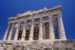 A  view, from a low angle, of the western side of the  Parthenon, located on the Acropolis of Athens in Athens Greece. To purchase this image, please go to my stock agency click here.
