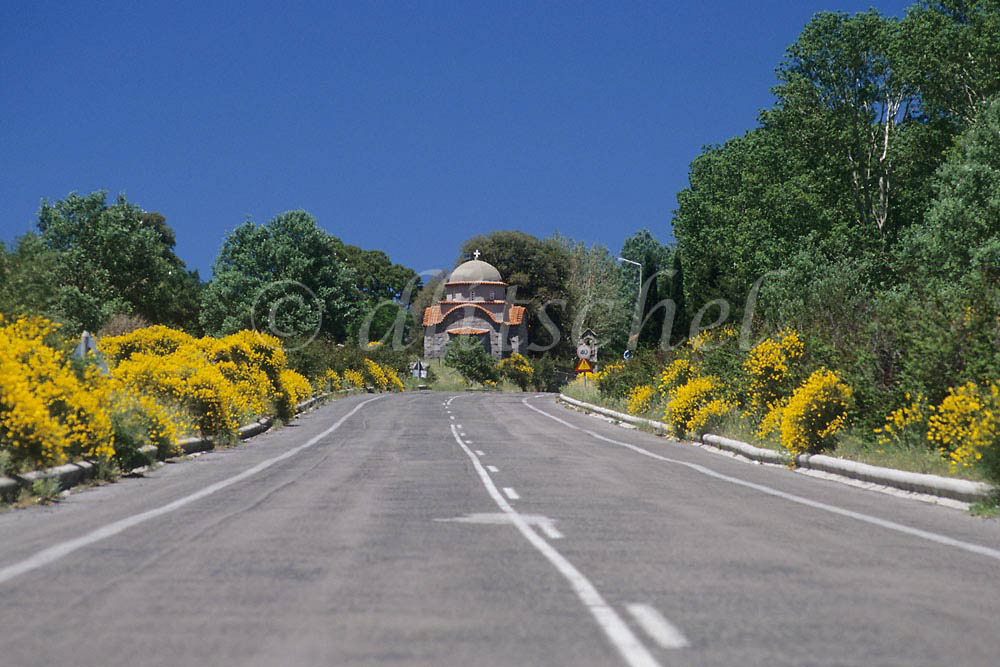 A typical roadside view on a Greek highway in the southern area of the country known as the Peloponnese. To purchase this image, please go to my stock agency click here.