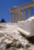 A detail low angle view of the Parthenon and marble ruins, located on the Acropolis in Athens Greece. To purchase this image, please go to my stock agency click here.