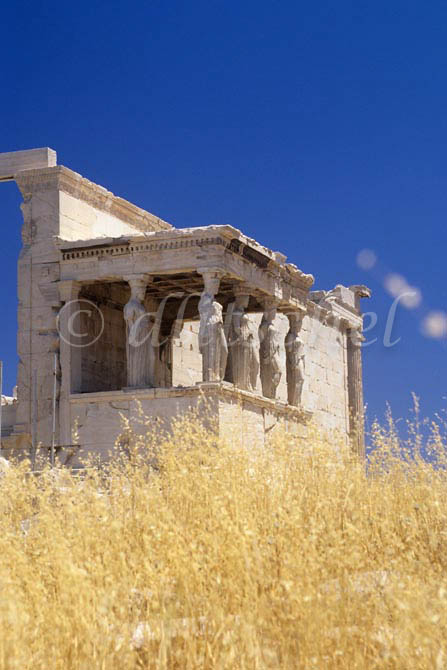 Caryatid Porch (sometimes referred to as the Kore Porch) of the Erechtheion, dating from 421–407 BC, on the Acropolis in Athens, Greece. To purchase this image, please go to my stock agency click here.