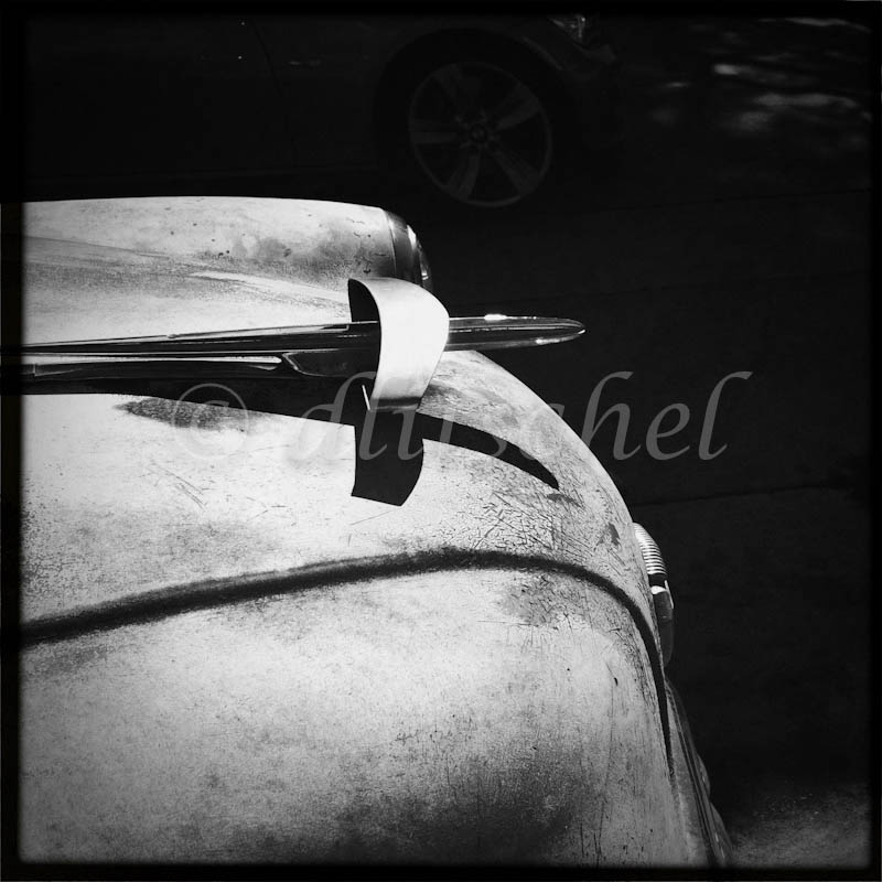 Black and white image of hood ornament of a 1950's era Buick automobile.