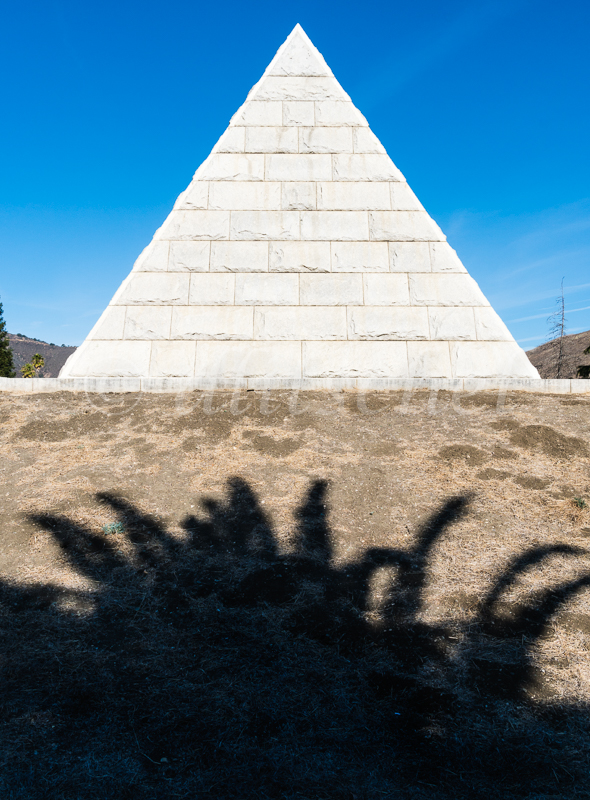 The Dorn Pyramid in the Odd Fellows Cemetery in San Luis Obispo, California. The Dorn Pyramid in the Odd Fellows Cemetery in San Luis Obispo has stood for more than 100 years, a Masonic symbol sheltering the mortal remains of a mother and child.But as the years have passed, a veil of mystery has come to surround the Dorn Pyramid. The mystery is compounded by the inscriptions on the marker at the entrance to the pyramid noting the burials within: Cora Russell Dorn (1868-1905) and Fred Adolphus Dorn, Jr. (1905 - 1905).